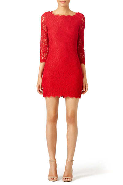 red-bodycon-lace-cocktail-dresses-with-three-quarter-sleeves