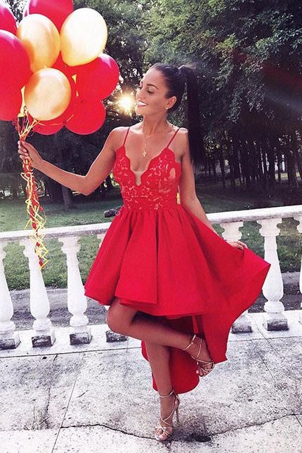 red-lace-hi-lo-prom-dresses-with-satin-skirt-vestidos