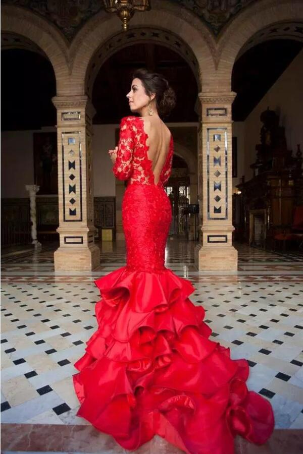 Red Lace Long Sleeves Mermaid Evening Gown with Ruffles Skirt ...