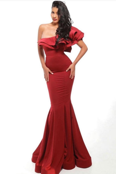 red-mermaid-evening-gown-with-flounced-one-shoulder