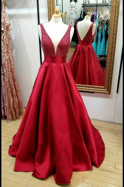 red-satin-bead-evening-dresses-with-plunging-v-neckline