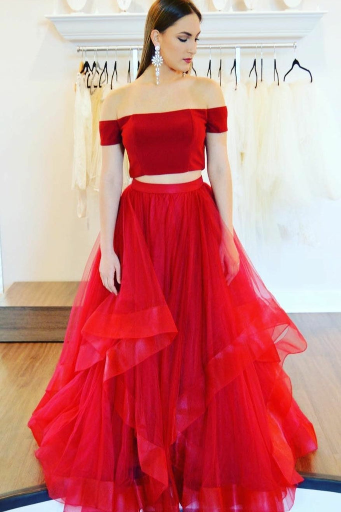52c351f47fee Red Satin Two Piece Prom Gown with Ruffles Horsehair Skirt ...