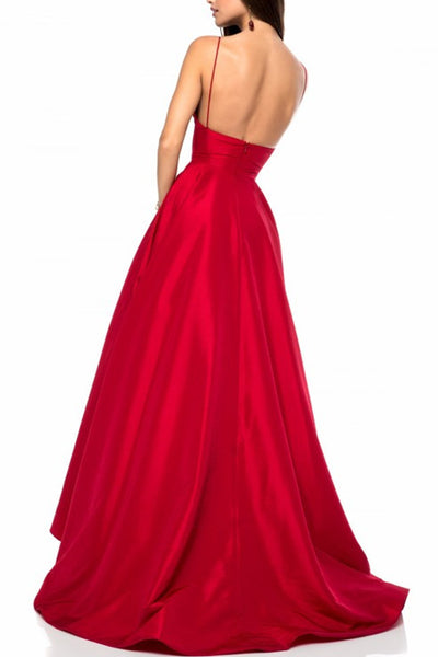 e4d37f8c71 Red Satin V-neckline Simple Prom Gowns with Spaghetti Straps ...