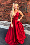 red-satin-v-neckline-simple-prom-gowns-with-spaghetti-straps