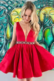red-short-homecoming-dresses-with-jeweled-waist