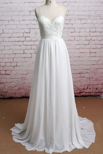 refined-illusion-neckline-lace-boho-wedding-dresses-for-beach