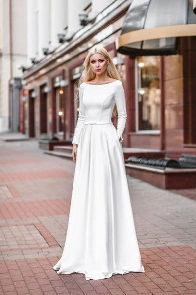 Relaxed A Line Satin Long Sleeved Wedding Dress With Pockets
