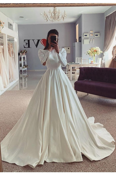 retro-inspired-long-sleeves-satin-bridal-gown-for-women