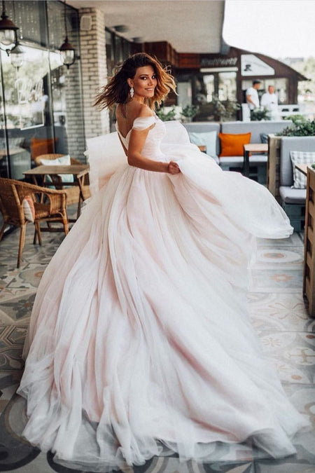 See-through Sleeves Bridal Dress for Marriage Tulle Skirt