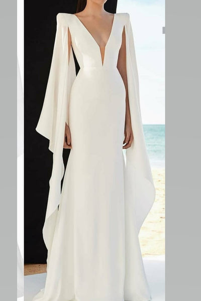 ribbon-sleeves-chiffon-white-prom-dress-with-plunging-v-neckline