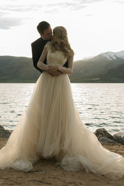 romantic-champagne-wedding-dress-with-lace-long-sleeves-2
