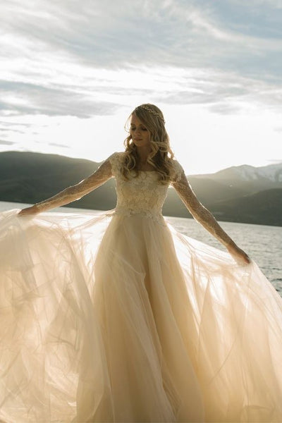 romantic-champagne-wedding-dress-with-lace-long-sleeves