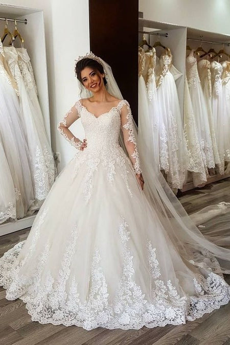Semi-Illusion Floral Lace Bridal Dresses with Tulle Skirt