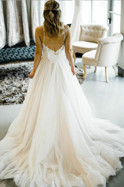 b6170b69d334a Romantic Princess Style Wedding Dresses with Spaghetti Straps