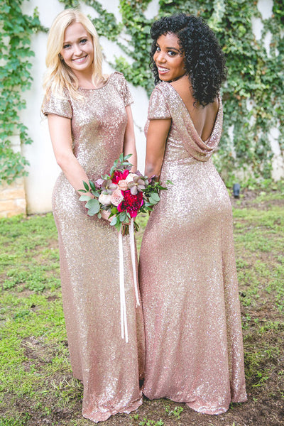 b7106f9e415 Rose Gold Sequin Bridesmaid Dress with Sleeves Metallic Dresses ...
