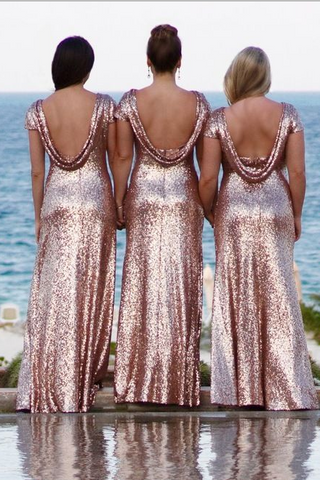 39244b318a Rose Gold Sequin Bridesmaid Dress with Sleeves Metallic Dresses –  loveangeldress