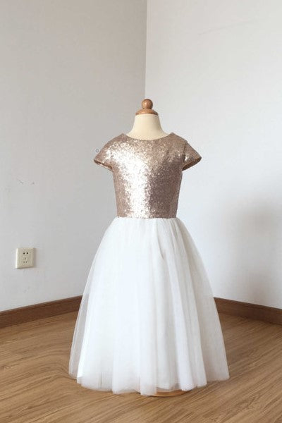 a53b16a9d rose-gold-sequin-flower-girl-dress-with-tulle-
