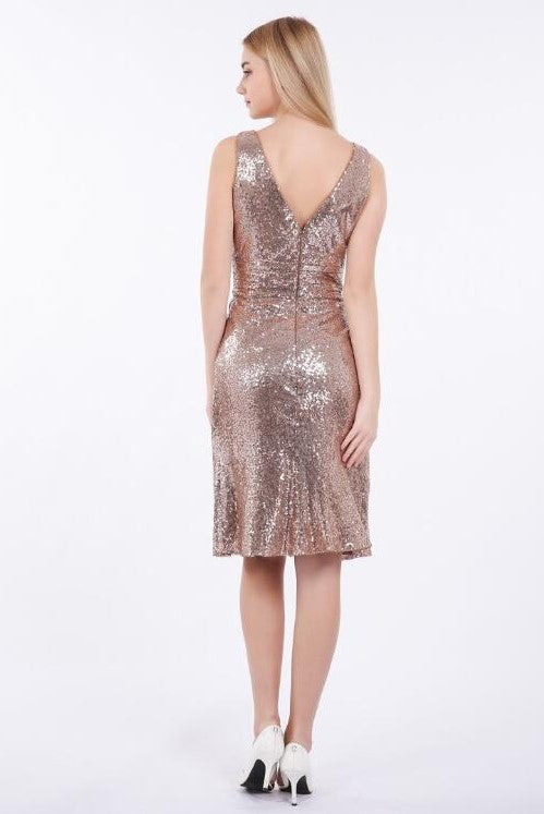 rose-gold-sequin-short-bridesmaid-dress-v-neckline-1