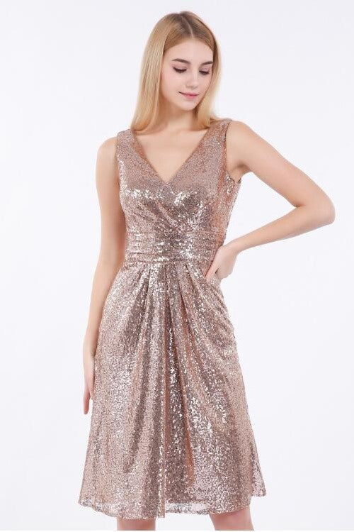 rose-gold-sequin-short-bridesmaid-dress-v-neckline