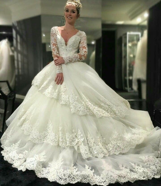 royal-court-princess-ball-gown-wedding-dress-with-long-lace-sleeves-2