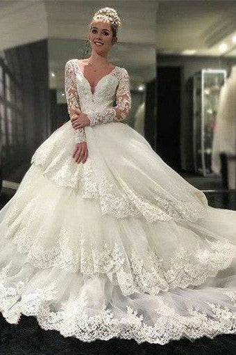 royal-court-princess-ball-gown-wedding-dress-with-long-lace-sleeves