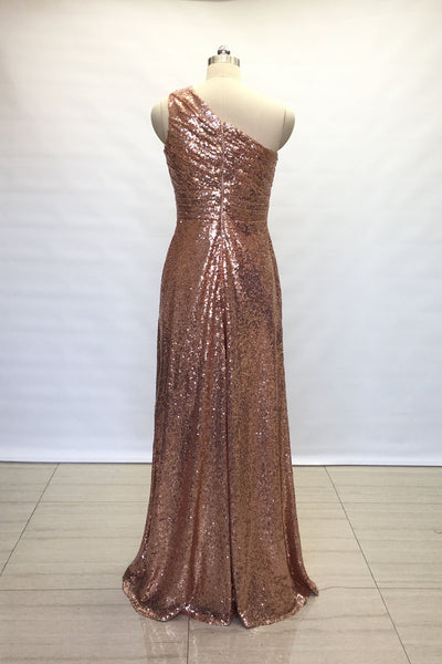 ruched-rose-gold-sequin-bridesmaid-gown-single-shoulder-1