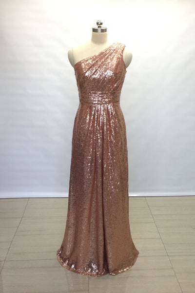 ruched-rose-gold-sequin-bridesmaid-gown-single-shoulder