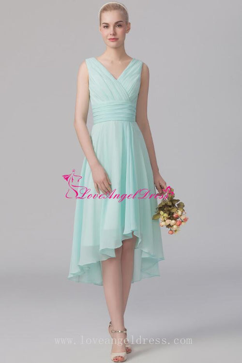 ruched-v-neck-a-line-mint-green-bridesmaid-wedding-guest-dress
