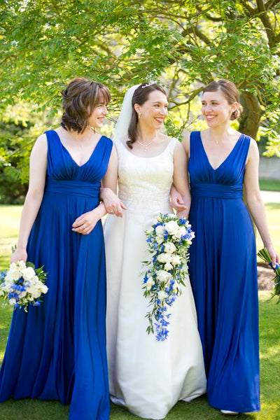 ruched-v-neckline-a-line-blue-wedding-party-dresses-vestido-de-festa-de-casamento