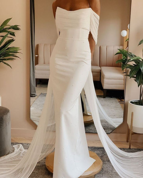 ruching-off-the-shoulder-sheath-wedding-gown-with-ribbons-1