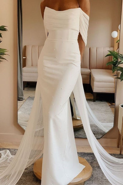 ruching-off-the-shoulder-sheath-wedding-gown-with-ribbons