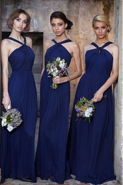 ruching-orange-chiffon-bridesmaid-dresses-with-halter-neckline-1