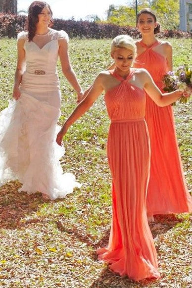 ruching-orange-chiffon-bridesmaid-dresses-with-halter-neckline