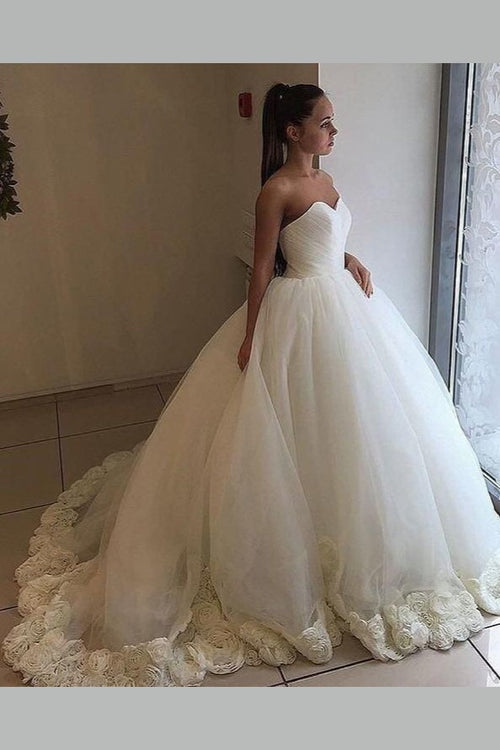 ruching-sweetheart-ball-gown-wedding-dresses-with-flowers-train