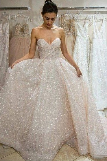 d8ce430ceee Ruching Sweetheart Sequin Wedding Dress with Long Train – loveangeldress