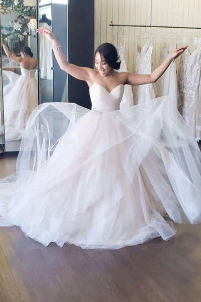 ruching-sweetheart-tulle-bride-dresses-with-jewellery-belt
