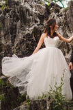 ruching-tulle-boho-wedding-gown-with-sheer-insert-neckline-2