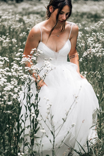 ruching-tulle-boho-wedding-gown-with-sheer-insert-neckline