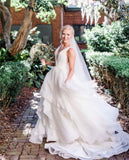ruching-v-neck-wedding-dresses-with-layers-skirt-3
