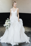ruffled-organza-ball-gowns-wedding-dresses-lace-v-neckline-vestido-de-baile-4
