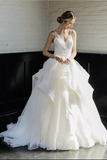 ruffled-organza-ball-gowns-wedding-dresses-lace-v-neckline-vestido-de-baile
