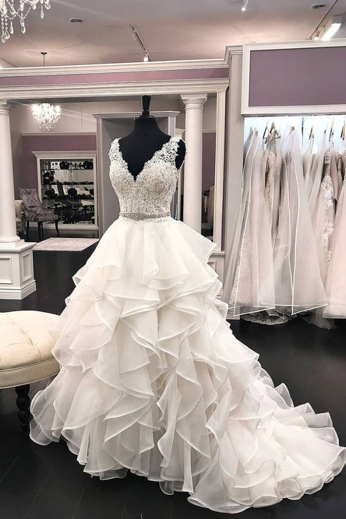 ruffled-organza-wedding-dresses-lace-v-neckline-bodice