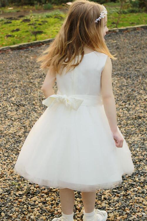 satin-and-tulle-tea-length-ivory-flower-girl-dress-with-ribbon-belt-1