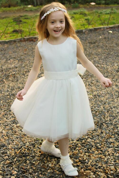 satin-and-tulle-tea-length-ivory-flower-girl-dress-with-ribbon-belt