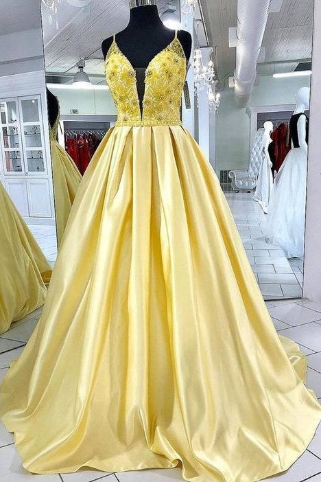 satin-bright-yellow-long-prom-dresses-beaded-bodice