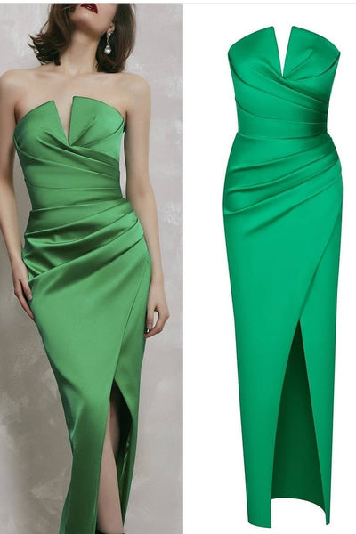 satin-green-prom-gown-with-ruched-strapless-neckline