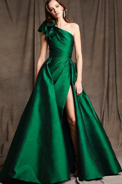 satin-green-single-shoulder-prom-gown-with-leg-slit