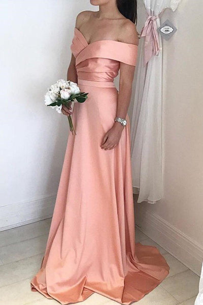 satin-long-pink-bridesmaid-dress-with-off-the-shoulder