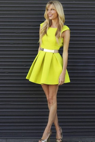 satin-neon-yellow-homecoming-dresses-with-belt-1