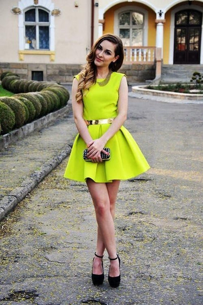 Satin Neon Yellow Homecoming Dresses with Belt